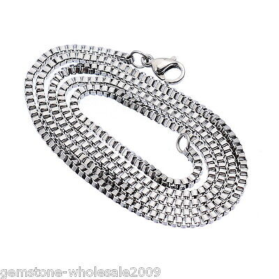1-100PC Wholesale GW Stainless Steel Silver Tone 2mm Box Chain Necklace 51cm