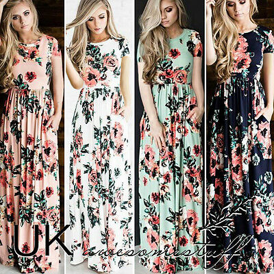 UK Womens Floral Holiday Long  Dress Ladies Summer Paisley Maxi Dress Size 6-16