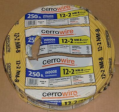 250' Roll 12-2 w/Ground Cerro Wire NM-B Indoor Copper Electrical Wire Cable