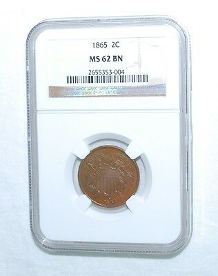 1865   2 Cent - Ngc - Ms 62 Brown - New Style Holder - Rim Of Coin Is Visible