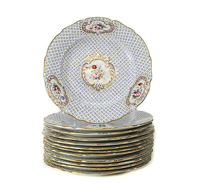 12 Continental Porcelain & Hand Painted Enamel Jeweled Dinner Plates, 19th C