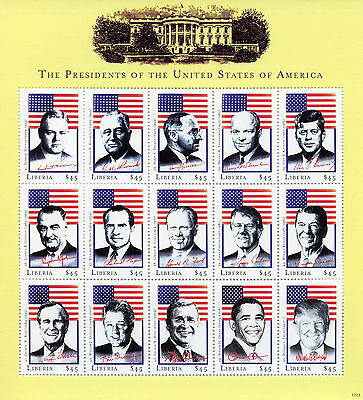 Liberia 2017 MNH US Presidents of USA Trump Obama JFK Nixon Ford 15v M/S Stamps
