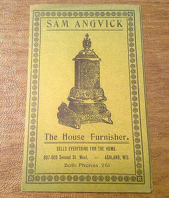 RARE 1908 Sam Angvick Furniture Co. Ashland WI Advertising Foldout WIsconsin Map