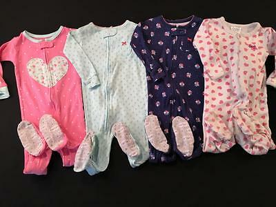 Girls Carters 12 Months One Piece Cotton Pajamas Sleepers Lot G4 Free Ship