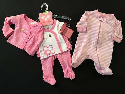 New Baby Girls Carters Preemie Outfit & Footed Sleeper Pajamas Clothes Lot G14