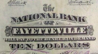 Only $10 known & HIGHEST graded on bank: 1902 Fayetteville Plain Back Ch # 5677