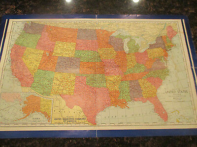 "Original 1950  US census Map 22"" x 14"" City populations by thos. d. murphy co."
