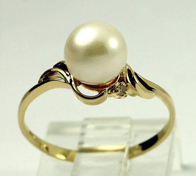 Natural Diamond 14k Yellow Gold Cultured Freshwater Pearl Band Ring Size 6.5