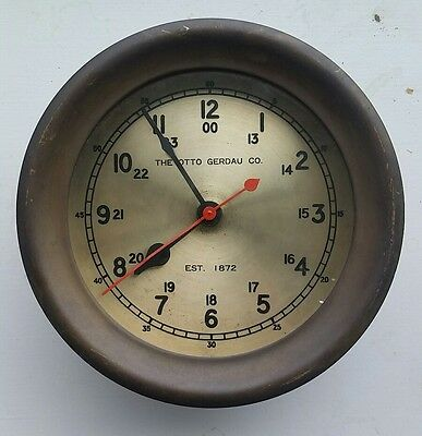 7 INCH OTTO GERDAU CO ANTIQUE MARINE CLOCK. similar to Chelsea,