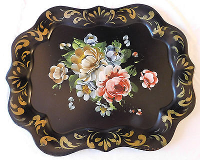 Antique Vintage Large Black Toleware Tin Tray Hand Painted Flower Floral