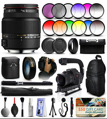Sigma 18-200mm F3.5-6.3 II DC OS HSM Lens for Canon + Advanced Accessory Kit