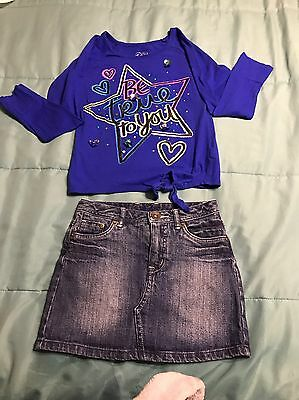 Little Girls Justice Clothing Outfit Jean Skirt Skort,Long Sleeve Shirt Size 7/8