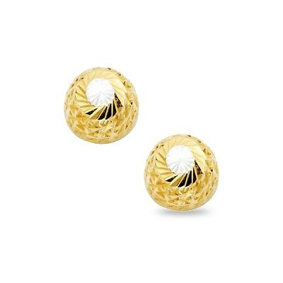 5382a39b3 14k Yellow White Gold Half Ball Stud Earrings Round Diamond Cut Studs Fancy