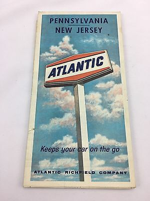 Vintage Atlantic Richfield Company Advertising Pennsylvania New Jersey Map