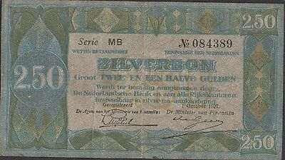 Netherlands 2 1/2 Gulden 1.10.1927  Series MB Circulated Banknote
