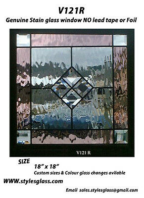 "Stain glass 18"" x 18"" window  Rose & Bevels  & water glass v121R"