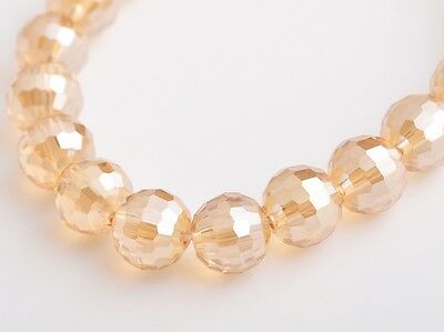 20pcs 10mm 96 Faceted Round Charms Crystal Glass Loose Spacer Beads Gold Amber