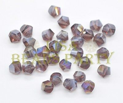 50pcs 6mm Twist Helix Glass Crystal  Charms Loose Spacer Beads Reddish Violet AB