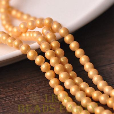 Hot 50pcs 6mm Round Gold Dust Glass Charms Loose Spacer Beads Light Gold