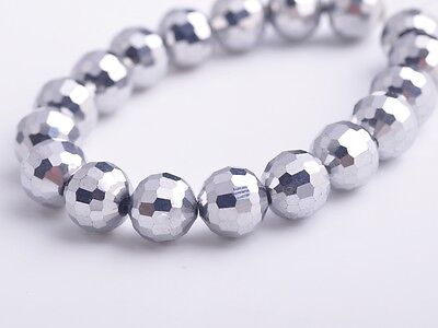 20pcs 10mm 96Facet Round Faceted Charms Crystal Glass Loose Beads Silver Plated