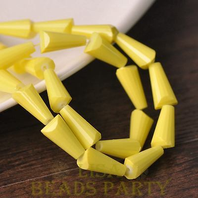 Hot 10pcs 16X8mm Pagoda Shape Faceted Loose Glass Beads Pendants Yellow