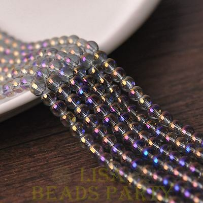 Hot 100pcs 4mm Electroplating Crystal Glass Round Loose Spacer Beads Purple