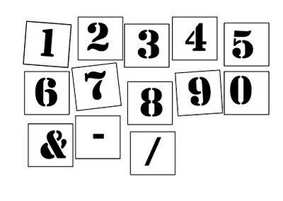 Number Stencil individual peices  0-9 plus symbols choose your size - FREE POST