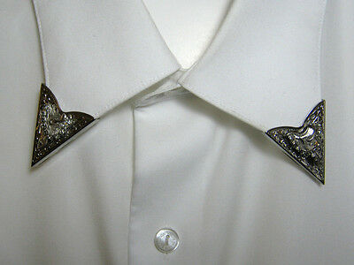 Vintage Western Collar Tips Silver Tone Saddle With Rhinestones Usa Made