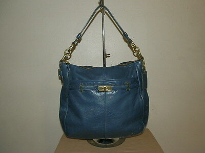 Coach Ashlyn Hobo Blue Leather Shoulder Bag Purse F17816