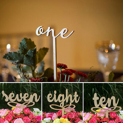 10 Pcs One-Ten Wooden Table Numbers On Sticks For Wedding Party Decoration Warm