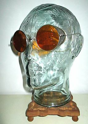 Antique Amber Safety Sunglasses Goggles Spectacles Vintage Old Retro STEAMPUNK