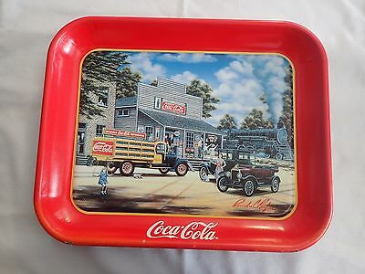 1997 COCA-COLA - Coke Tray - ALL ABOARD - Pamela C. Renfroe - Signed Collectible