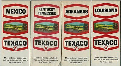 Lot of 4 - 1970 Texaco Oil Road Maps - Nice Condition