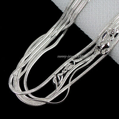 """Wholesale Hot Sale 10pcs 2mm 925 Silver Plated Flat Snake Chain Necklace 16""""-30"""""""