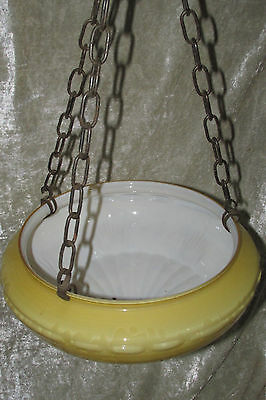 Antique Art Deco Hanging Ceiling Light Shade Amber Cloud  Glass w/ Chains 30CmW