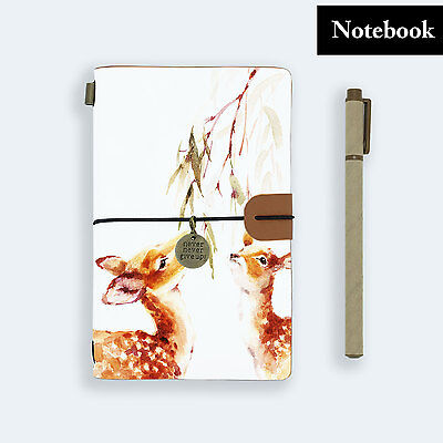 Hand Made Genuine Leather Journal Travel Diary Travelers Notebook Size Deer