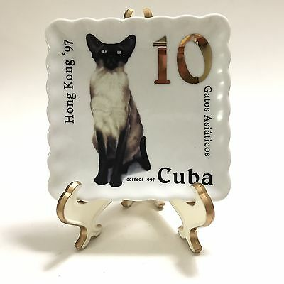 Doghaus Siamese Cat 10 Cent Stamp Catch All Tray Pin Dish 4x4