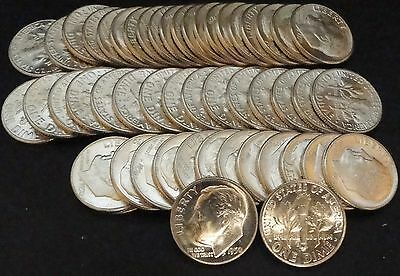 Full Roll of 1950-D Silver Roosevelt Dimes (50 Coins)
