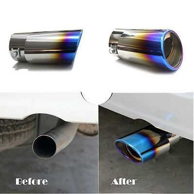 Car SUV Straight Stainless Steel Rear Tail Exhaust Pipe Tip Muffler Rainbow Hot