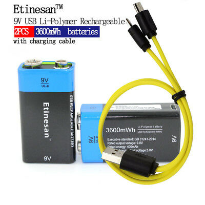 2pcs Etinesan 9V 3600mWh lithium li-po  rechargeable battery + micro usb cable