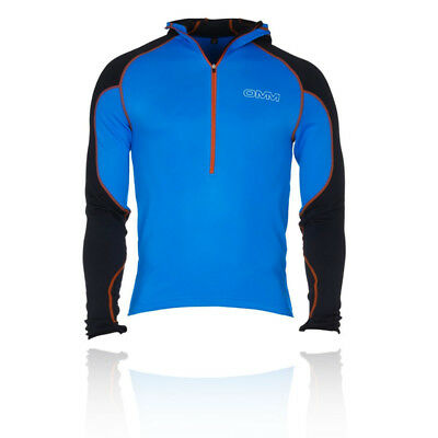 OMM Contour Mens Blue Warm Long Sleeve Training Sports Hoodie Hooded Top