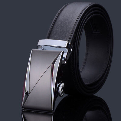 New Fashional Automatic Buckle Mens Waistband Ratchet Real Genuine Leather Belts