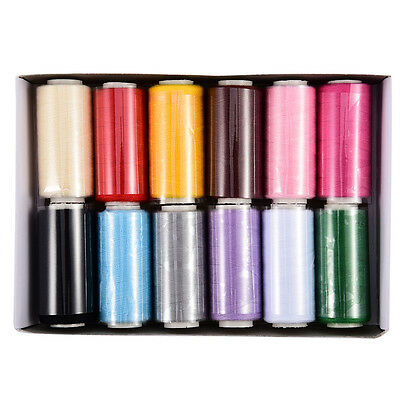 12 Assorted Colors 400 Yards Polyester Sewing Thread-Pack Sewing Thread