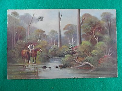 Early 1900's Aust. Artist Postcard, C. Young, Rider By A Bush Stream