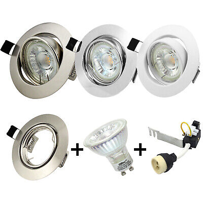 Modern Chrome LED GU10 Downlight Round Recessed Ceiling Lights Spotlight Fitting