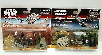 Star Wars Micro Machines Gold Series The Force Awakens Lot of 2 Set Pack