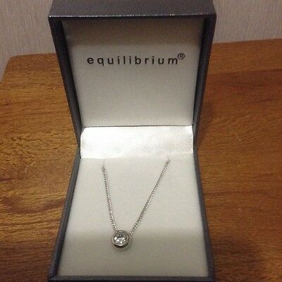 Equilibrium ,silver plated necklace with a crystal stone