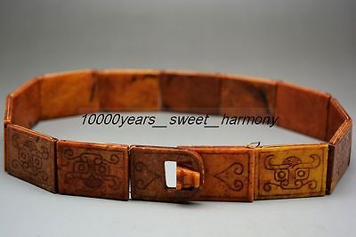 Collectible rare Chinese old jade hand carved beast face amulet  belt   H2
