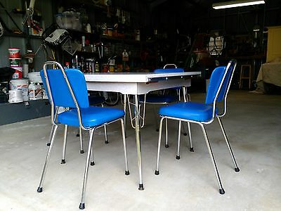 Vintage Retro extendable laminex dining table and chrome & vinyl chairs