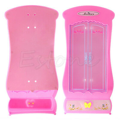 1* Pink Closet Wardrobe For Barbie Doll Cute Princess Bedroom Furniture Toys